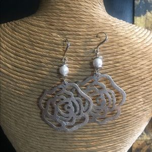 Fashion Silver Earrings with Faux Pearl.